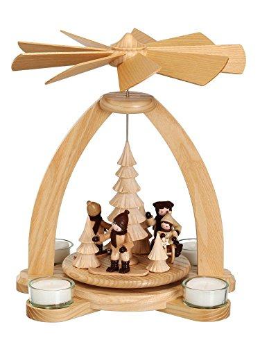 Volkskunstwerkstatt Unger Tischpyramide - Teelichtpyramide Winterkinder - Wintersport Echt Erzgebirge® #1841