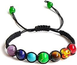 REFURBISHHOUSE 7 Cuentas de Equilibrio de curacion Chakra Pulsera Pulsera de energia de Yoga Vida Amantes del Arco Iris Joya Informal