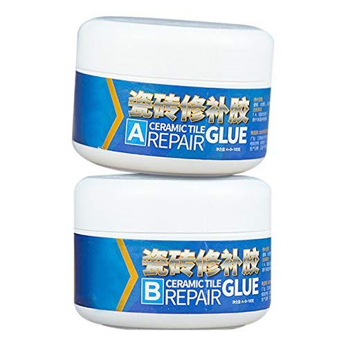 Raburt - Juego de 2 adhesivos de cerámica para reparación de piedras, efecto brillante, 2 unidades