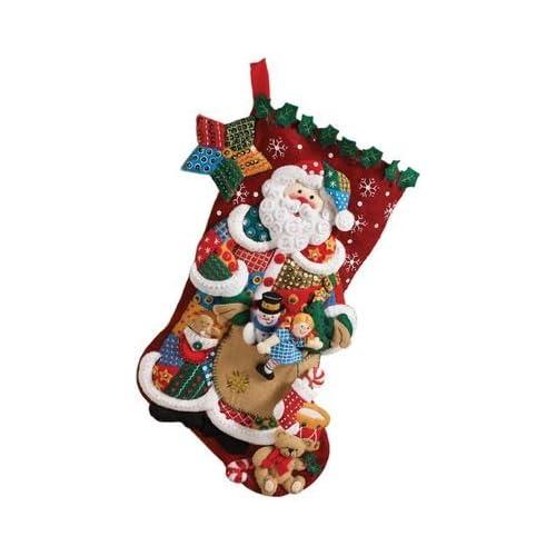 0178c682f30 Amazon.com  Bucilla 18-Inch Christmas Stocking Felt Applique Kit ...
