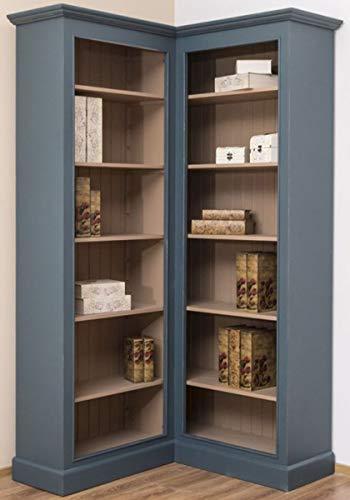 Casa Padrino Landhausstil Eckschrank Blau/Beige 102 x 102 x H. 210 cm - Massivholz Bücherschrank - Landhausstil Wohnzimmer Möbel
