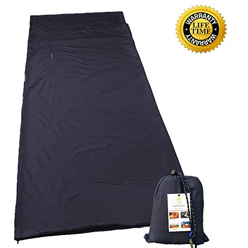 HZJOYUE Sleeping Bag Liner -Compact,Lightweight, Dirt-Proof,Soft Camping Sheet Best Sleeping Sheet for Outdoor Travel Hiking, Camping, Backpacking, Hotel, Business Trip with Carabiner