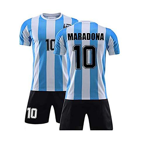 Conjunto De Camiseta De Fútbol Retro Conmemorativa - Mano Izquierda De Dios Diego Maradona # 10 Camiseta De Fútbol De Argentina Local Camiseta Conmemorativa Copa Del Mundo 1986 Retro México (L)