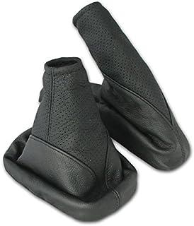 L&P A104-1 Funda saco cuero de 100% real piel genuina perforado negro con costura negra negro de palanca de cambios cambio velocidad velocidades marchas saco de conmutación y freno de mano estacionamiento