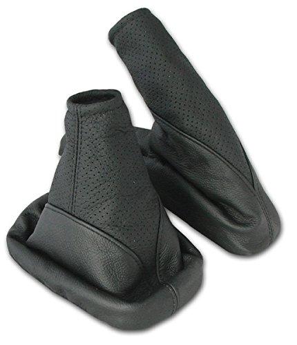 L&P A104-1 Funda saco cuero de real piel genuina perforado negro con costura negra negro de palanca cambios cambio velocidad velocidades marchas saco de conmutación y freno de mano estacionamiento