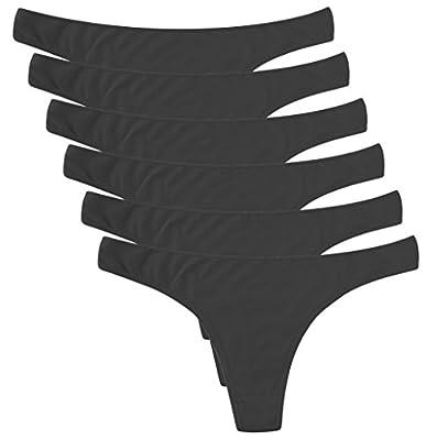 ELACUCOS 6 Pack Women's Thongs Cotton Breathable Panties Bikini Underwear Black Large