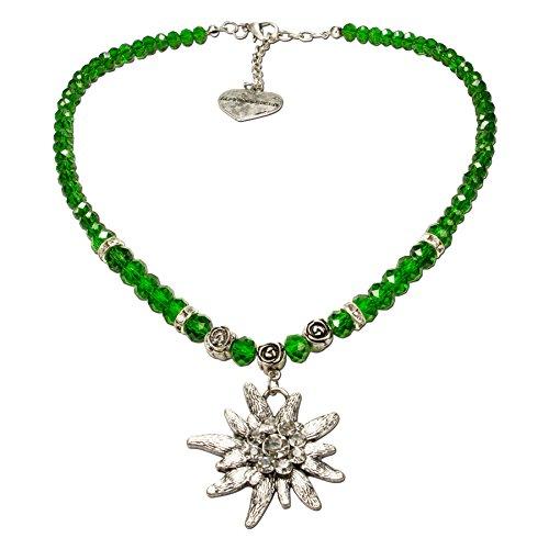 Alpenflüstern Perlen-Trachtenkette Fiona Crystal mit Strass-Edelweiß groß - Damen-Trachtenschmuck Dirndlkette grün DHK142