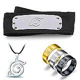 5PCS Naruto Adjustable Metal Leaf Village Headband Ninja Uchiha Sasuke Kakashi Cosplay Set Ring Necklace