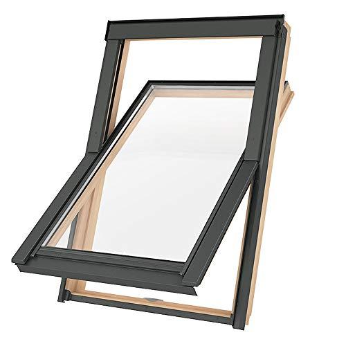 Preishammer Dachfenster Holz Slim Rahmen 78x112 Solstro Schwingfenster Fenster wie M06 M6A Kieferholz inklusive Eindeckrahmen für Ziegel wie 78x118 MK06