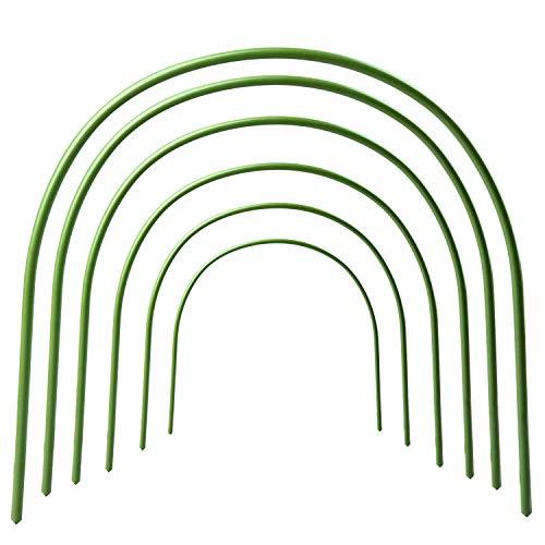 VSTAR66 Paquete de 6 aros de túnel de invernadero, cubierta de fila de plantas, soporte para plantas de crecimiento de filas de túneles