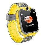 Hangang Reloj Inteligente para Niños Niña La Musica y 7 Juegos Smart Watch Phone 2 Vías Llamada Despertador de Cámara para Reloj Niño y Niña 3-12 años(Amarillo)