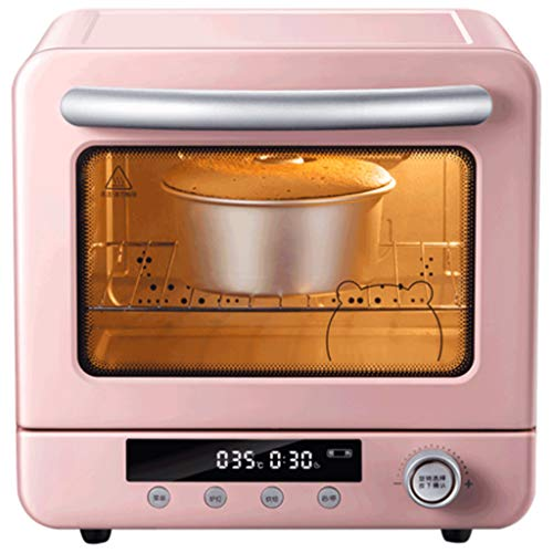Smart Retro Toaster Oven, Countertop Convection Oven, Microwave Oven with Bake Pan And Rack, Multi-Function Vintage Digital Fry Toaster, Grill,Pink