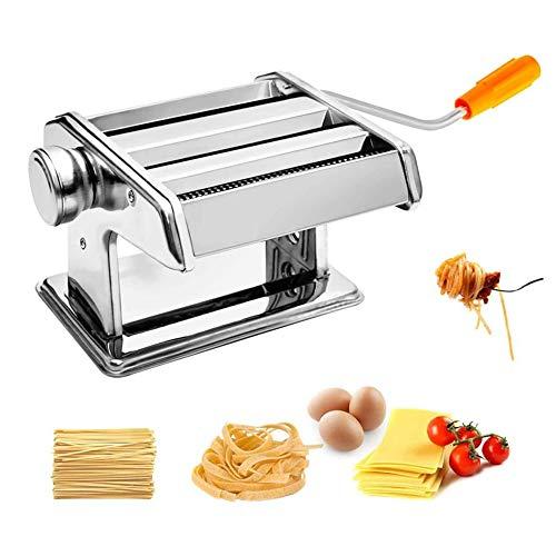 MUPAI Laminoir a Pate en Acier Inoxydable Manuelle Machine à Pâtes 6 Épaisseur Réglable pour Tagliatelle/Spaghettis/Lasagnes/Ravioles