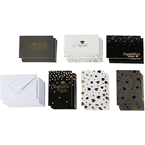 Tarjetas de felicitación de graduación con sobres, 6 diseños de lámina dorada (10,1 x 15,2 cm, 48 unidades)