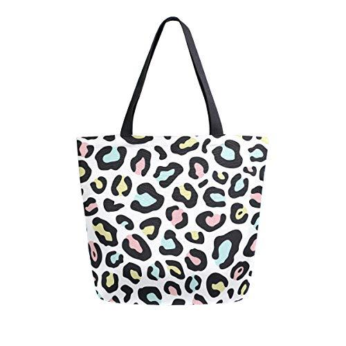 Mnsruu Einkaufstasche aus Segeltuch, wiederverwendbar, mit Leopardenmuster, 80er-Jahre-Stil, für Reisen, College, Buchtasche für Damen und Mädchen