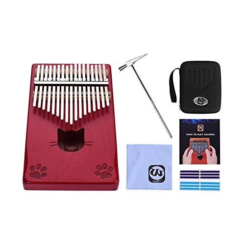 JSNRY Daumenklavier Ahornholz Finger Klavier mit Tragetasche Tuning Hammer Musical-Geschenk Klavier Kleines Musikinstrument ( Color : Red )