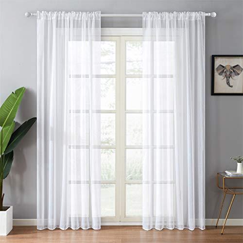 Topfinel Voile Vorhänge mit Tunnelzug in Leinen-Optik Transparent für Wohnzimmer Schlafzimmer Fenster Einfarbige Gardinen Weiß 2er Set je140x280cm (BxH)