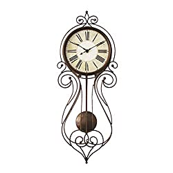 Indoor American Vintage Wall Clock - Metal Wrought Iron Wall Clock - Pendulum Clock - Rustic Style - Roman Numeral Dial - Living Room - Office - Shop Decoration-Gift 0