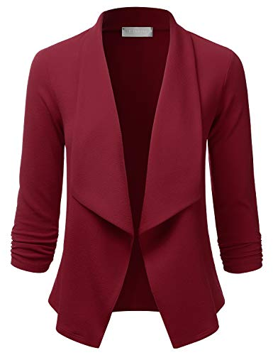 EIMIN Women's 3/4 Sleeve Blazer Open Front Office Work Cardigan Jacket Burgundy L