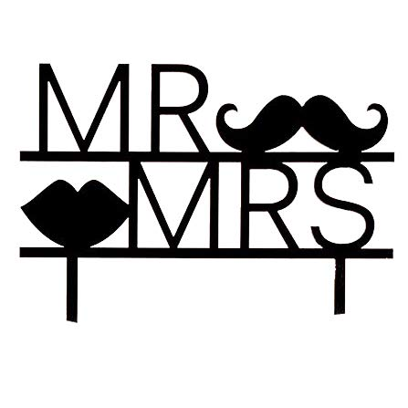 Cake Topper Mr and Mrs Moustache in Schwarz, Alternative Tortenfigur, Tortendekoration für die Hochzeit