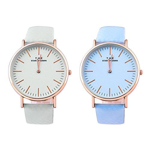 Souarts 1Stk Damen Armbanduhr Farbwechsel Uhr unter UV von weiß bis Blau oder Lila oder Rosa Einfach Stil Analoge Quarz Uhr mit Batterie Charm Zubehör (Weiß-Blau)
