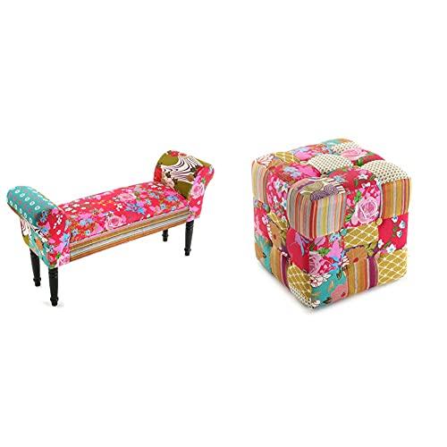 Versa Pink Patchwork Taburete pie de Cama para el Dormitorio, Banco para el Hall o la Entrada, con Apoyabrazos + 19500230 Taburete Cuadrado Pink Patchwork, Madera, Puff