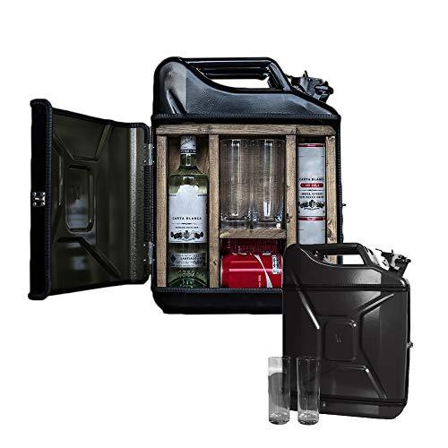MikaMax – Jerrycan Mix Drink Bar 20L – Whiskey Bar– Mobile Bar – Benzinkanister bar – mit 2 Longdrink Gläsern – Schwarz – 20 Liter – Holz und Metall – 46.5 x 34.5 x 14 cm – Kanister Barschrank