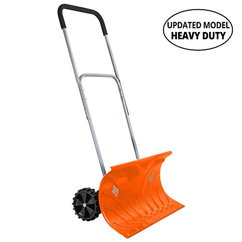 Ivation Snow Pusher Shovel with Wheels, 26' Wide with 6' Pivot Rolling Wheels, Large Wheeled Snow Shovel for Driveway, Adjustable Handle, Heavy Duty Construction