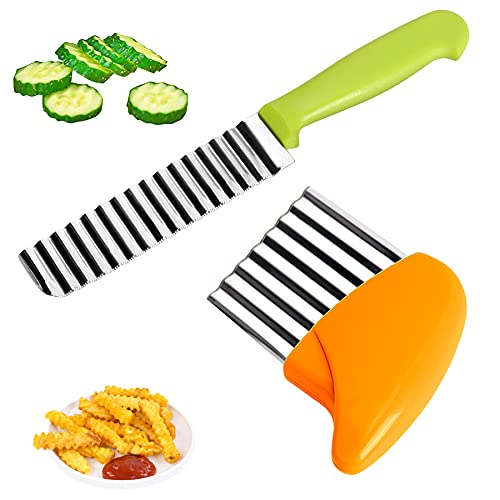 K·K Kartoffelschneider Messer, Edelstahl Pommes Wellenmesser mit Griff Kartoffel Wellenschneider Gemüsehobel Crinkle Cutter Messerset Welliger Chopper für Gemüse Kartoffeln Zwiebeln, 2 Stück