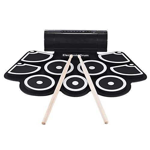 SISHUINIANHUA Beweglicher Roll up elektronische USB-MIDI-Drum Set Kits 9 Pads Integrierte Lautsprecher Fußpedale Sticks USB-Kabel für die Praxis