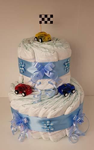 Windeltorte blau für Junge, Geschenk zum Geburt, Taufe, Babyparty, Windeln