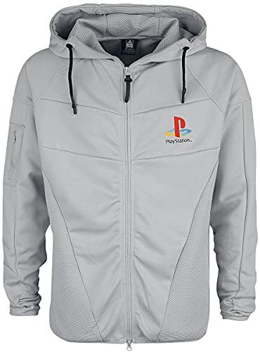 Playstation Sudadera con Capucha Ps1 Logo técnico Oficial para Hombre Gris con Cremallera - Gris - X-Large