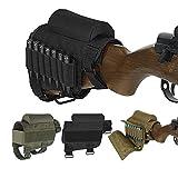 Wsobue Bolsa de Culata,Táctica Bolsa de munición Cresta de mejillas de Almohadilla de Escopeta Ajustable portátil para 7 Balas(Negro)