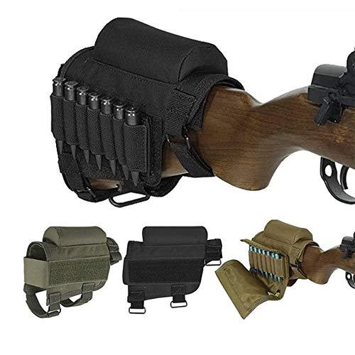 Wsobue Butta del Fucile, tiro di Caccia Tactical Cheek Rest Pad Ammo Pouch con 7 gusci Holder (Nero)