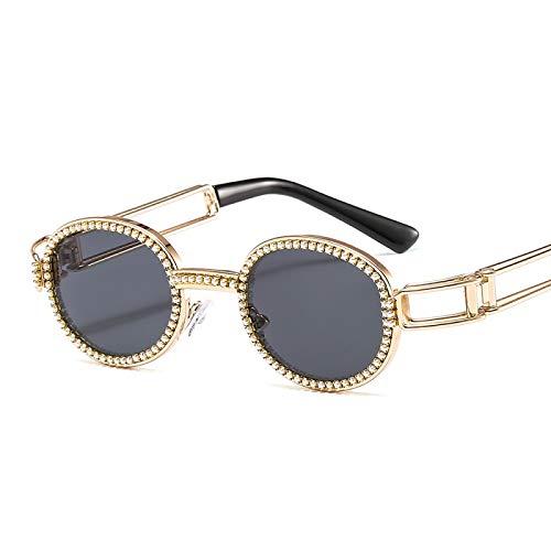 Gafas De Sol De Mujer Ovaladas Pequeñas Vintage para Hombre Gafas Unsex Negro Retro Diseñador De Marca Gafas Uv400 Marco De Decoración De Perlas Oro