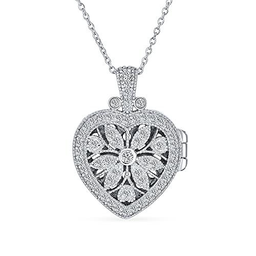 Corazon Medallón Estilo Antiguo Flores Y Filigrana Aromaterapia Aceite Esencial Difusor De Perfume Collar Para Mujer