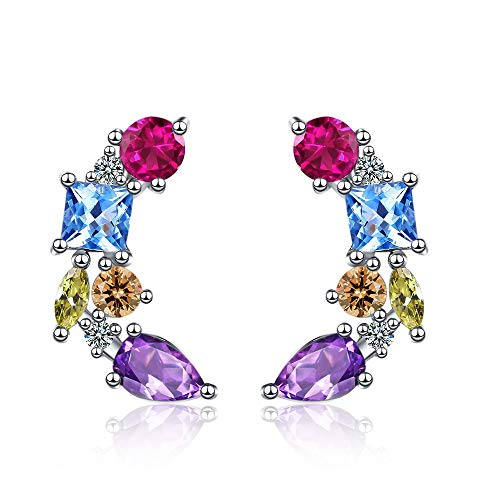 XINTIAN Stud Earrings 925 Sterling Silver Colorful Crystal Studs Earrings For Women Girls Wedding Engagement Jewelry Accessories