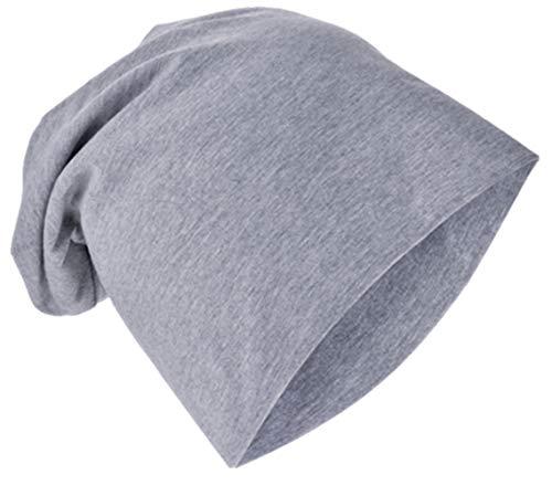 Miobo Jersey Slouch Beanie Long Mütze Unisex Unifarbe Baumwolle Baby Kinder Damen Herren (43-47, Grau)