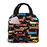 Portable Lunch Tote Bag Cute I Love My Dog Dachshunds Lunch Bag Insulated Cooler Thermal Reusable Bag Lunch Box Handbag Bags for Women/Picnic/Boating/Beach/Fishing/Work
