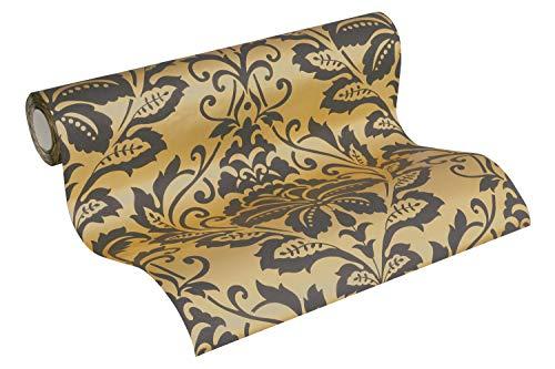 Barock Tapete Vliestapete Ornamente neo barock rokoko gold schwarz 10,05m x 0,53m BEAUTIFUL WALLS 369101