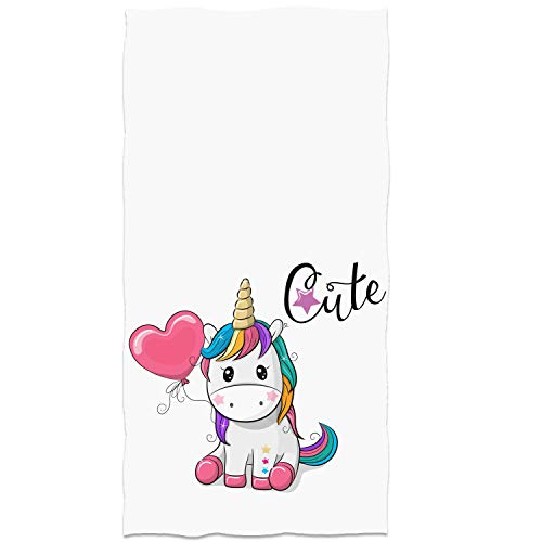 Cute Unicorn Hand Towel Red Heart-Shaped Balloon face Towel Ultra Soft Purple Star Thin Towel 13.8'x...