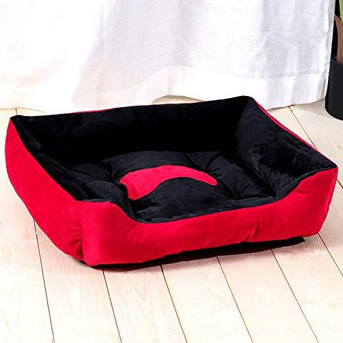 Cama para Mascotas, con una Alfombra Suave para Mascotas, Cama para Gatos Perros, Cama Suave de Felpa de tamaño Mediano -Rojo y Negro_80 * 60 CM