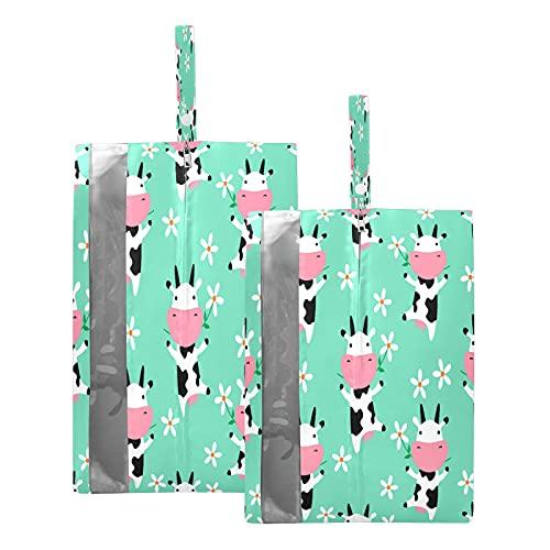 F17 - Bolsas de viaje para zapatos con flores de vaca, bolsa de almacenamiento, impermeable, portátil, ligera, para viajes, bolsa de almacenamiento para hombres y mujeres, 2 unidades