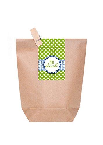 10 kleine braune Geschenktüten , Mitgebsel oder give-away Verpackung für kleine Geschenke mit Holzklammer + Aufkleber Verschluß FÜR DICH grün weiß gepunktet mit blau als nette Partytüte 14 x 22 x 5,6 cm