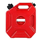 5L/1.3 Gallon Fuel Container, Gas Can Oil Petrol Storage, Cans Spare Emergency Backup Petrol Tanks Mount for Motorcycle SUV ATV Most Cars