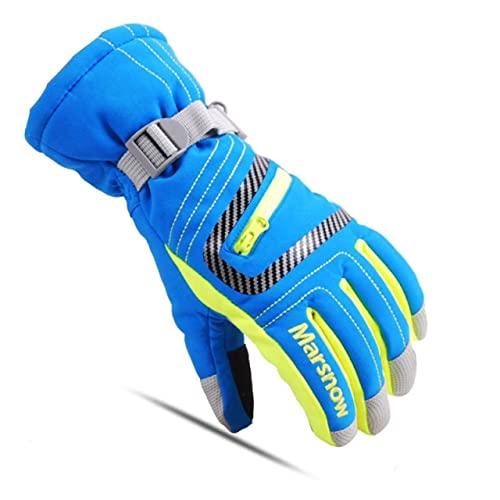 Guanti da sci per bambini Donna Uomo Inverno Impermeabile Anti freddo Guanti caldi Sport all'aria aperta Abbigliamento sportivo da neve Guanti da sci Antivento-Blue-5-S