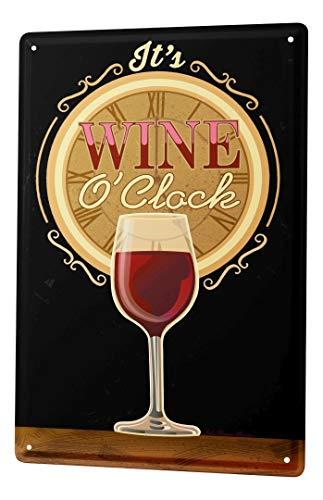 LEotiE SINCE 2004 Cartel Letrero de Chapa Motivo Retro Tiempo Copa de Vino Rojo Cocina