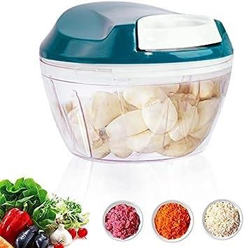 Cortador de cebolla, mini cortador de ajos, picadora manual, cortador de verduras con 3 cuchillas inoxidables, cortador de cebolla multifuncional, adecuado para verduras frutas carne y otros alimentos