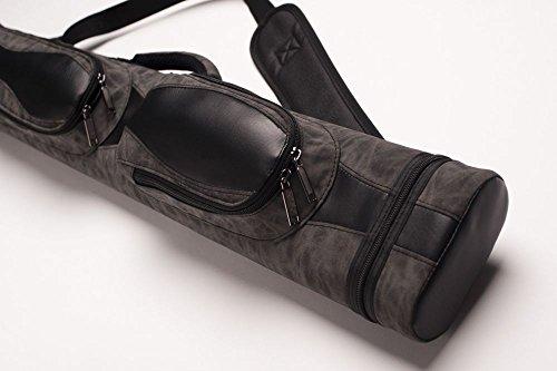 CUEL Billard-Köcher Suede Black 2/4 für Pool-Billard-Queues, aus Kunst-Wildleder, mit Schultergurt, Tragegriff und Zwei Seitentaschen für Billardzubehör