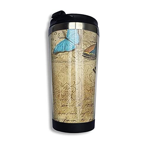 mengmeng Taza de café con aislamiento al vacío, diseño de mariposas vintage retro, con tapa a prueba de fugas, de acero inoxidable, reutilizable para agua caliente y fría y té, 400 ml